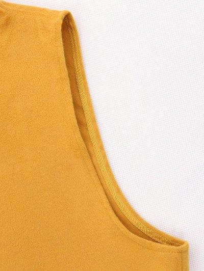 Wool Blend Shawl Collar Belted Waistcoat - DEEP GRAY XL Mobile