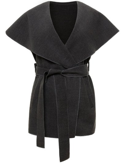 Wool Blend Shawl Collar Belted Waistcoat - DEEP GRAY S Mobile
