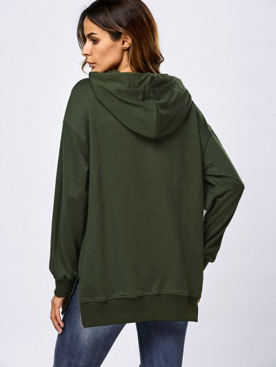 Drawstring Zipper Side Slit Hoodie - ARMY GREEN M Mobile