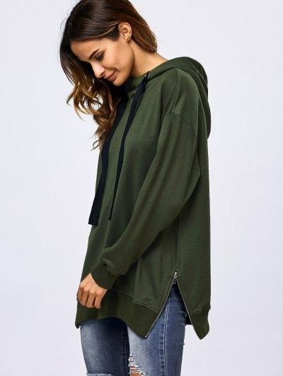 Drawstring Zipper Side Slit Hoodie - ARMY GREEN XL Mobile