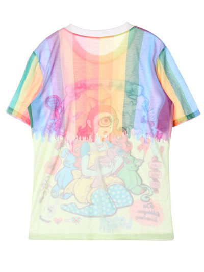 Cartoon Pattern Jewel Neck T-Shirt - COLORMIX ONE SIZE Mobile