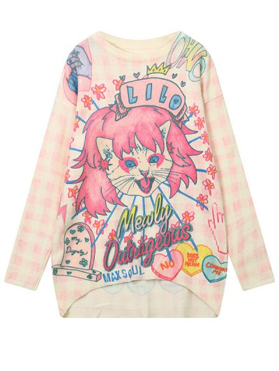Cartoon Pattern High Low Sweater - LIGHT PINK ONE SIZE Mobile