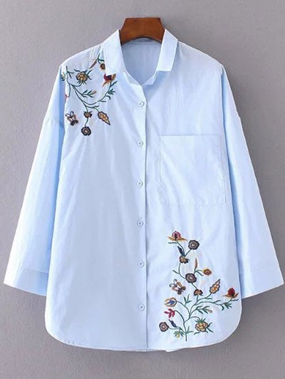 Floral Embroidered Shirt Neck Shirt - AZURE M Mobile