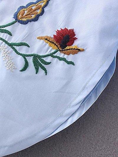 Floral Embroidered Shirt Neck Shirt - AZURE M Mobile