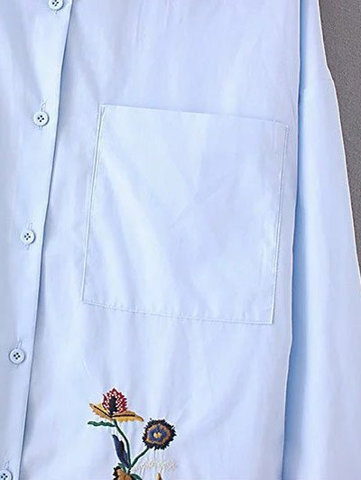 Floral Embroidered Shirt Neck Shirt - AZURE S Mobile
