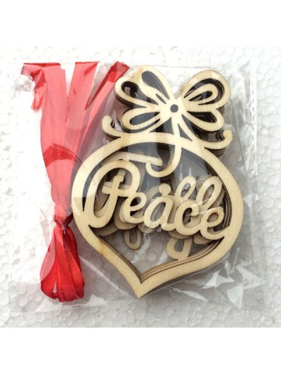 6PCS Hollow Out Wooden Hangers Christmas Decoration - WOOD  Mobile