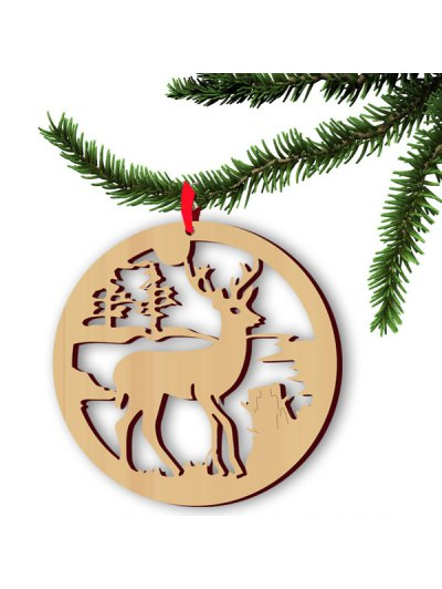 Christmas Tree Hollow Out Deer Hangers Decoration - WOOD  Mobile
