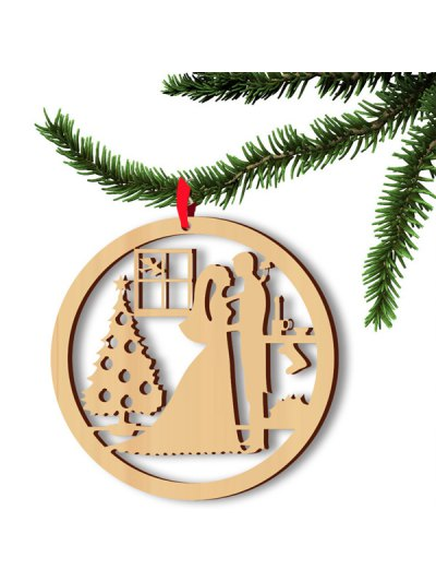 Christmas Hollow Out 5PCS Lovers Hangers Decoration - WOOD  Mobile
