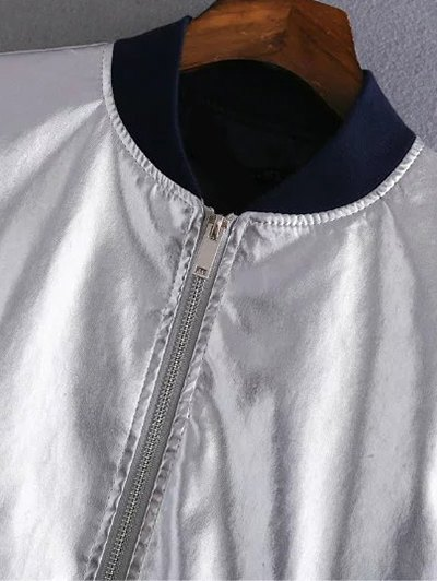 Metallic Colored Bomber Jacket - SILVER L Mobile