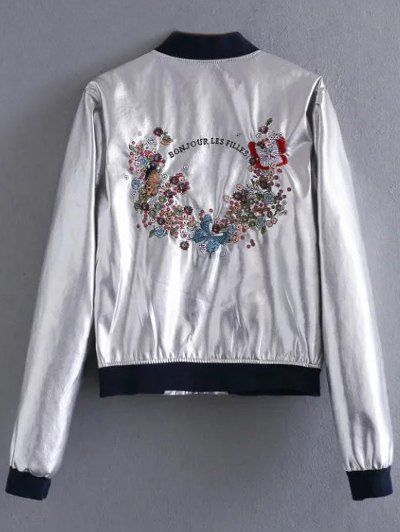Metallic Colored Bomber Jacket - SILVER S Mobile
