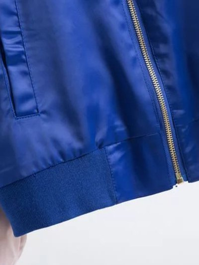 Two Tone Embroidered Satin Bomber Jacket - SAPPHIRE BLUE XL Mobile