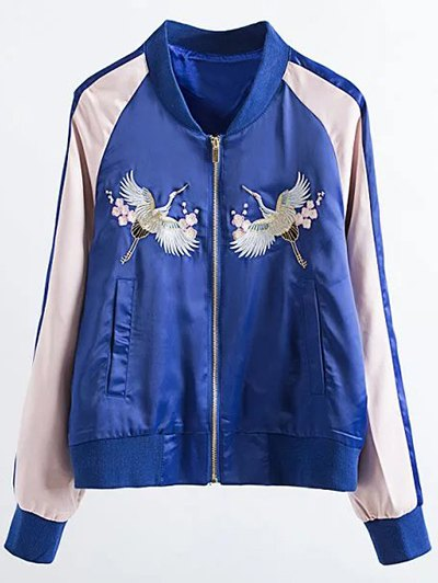 Two Tone Embroidered Satin Bomber Jacket - SAPPHIRE BLUE L Mobile