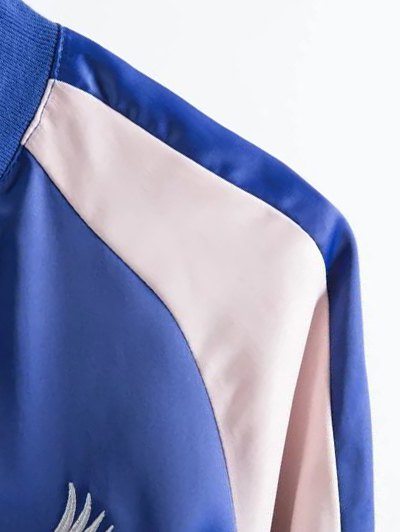Two Tone Embroidered Satin Bomber Jacket - SAPPHIRE BLUE S Mobile