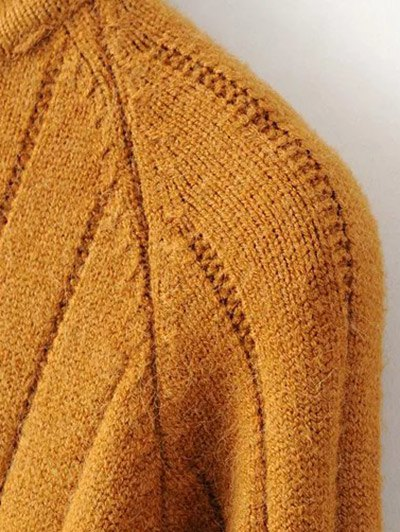 Turtleneck Ribbed Knit Long Sweater - EARTHY ONE SIZE Mobile