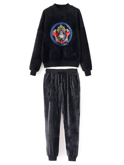 Embroidered Velvet Sweatshirt and Pants - BLACK L Mobile
