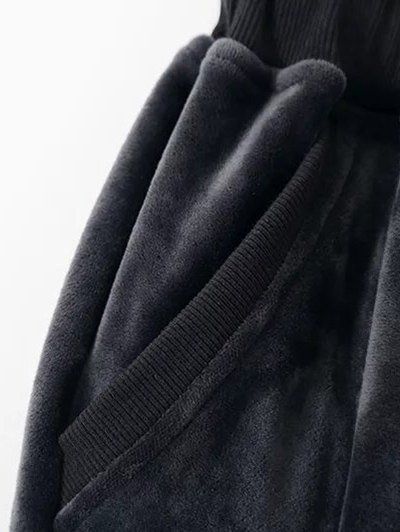 Embroidered Velvet Sweatshirt and Pants - BLACK M Mobile