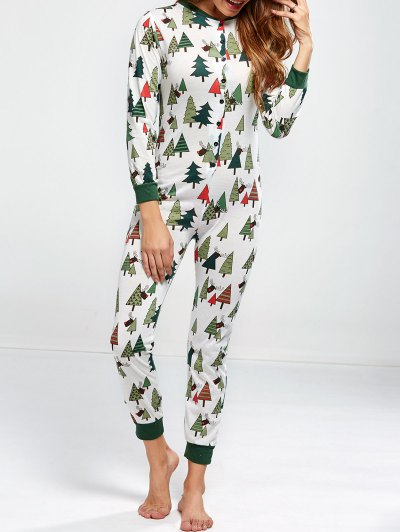 Christmas Tree Print Pajamas - GREEN M Mobile