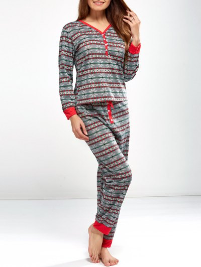 Christmas Snowflake Printed Pajamas - LIGHT GRAY L Mobile