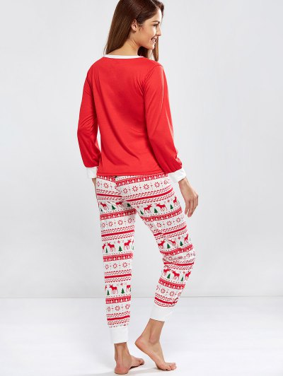 Christmas Deer Print Long Sleeve Pajamas - RED XL Mobile