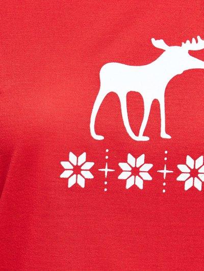 Christmas Deer Print Long Sleeve Pajamas - RED L Mobile