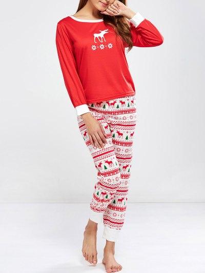 Christmas Deer Print Long Sleeve Pajamas - RED S Mobile