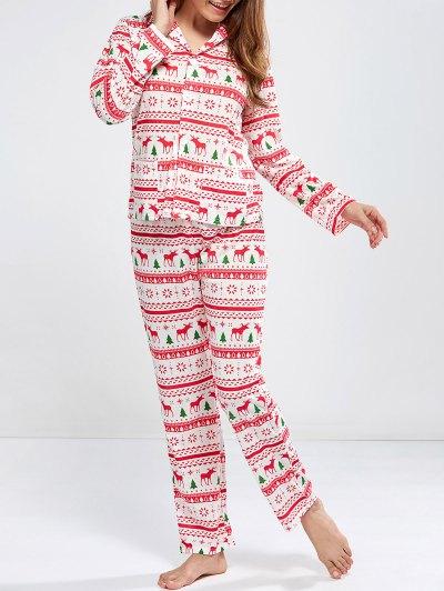 Deer Print Long Sleeve Christmas Pajamas - RED XL Mobile