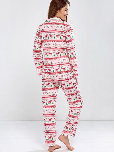 Deer Print Long Sleeve Christmas Pajamas - RED L Mobile