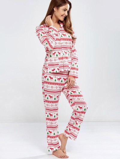 Deer Print Long Sleeve Christmas Pajamas - RED M Mobile