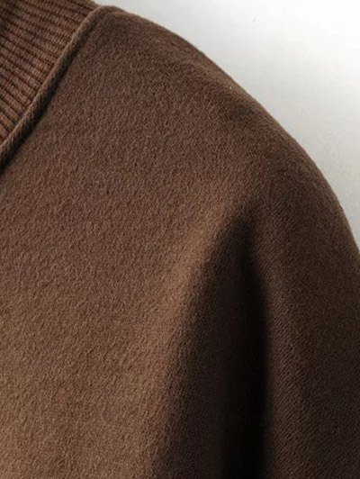 Embroidered Brushed Longline Sweatshirt - COFFEE ONE SIZE Mobile