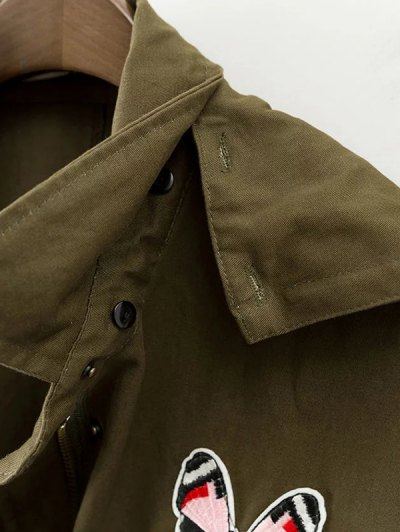 Printed Hooded Lightweight Coat - ARMY GREEN S Mobile