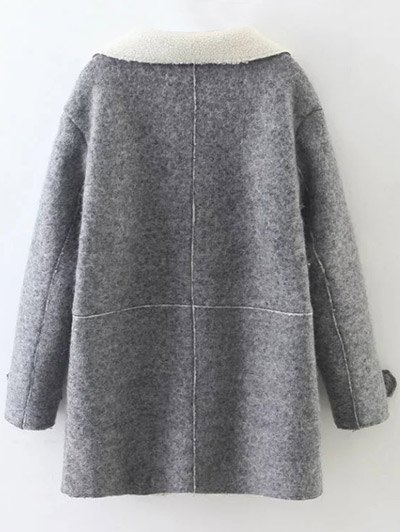 Double Breasted Fleece Lined Coat - GRAY L Mobile