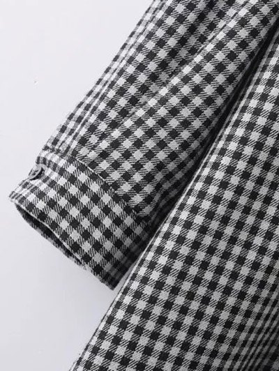 Checked Long Sleeve Mini Dress - WHITE AND BLACK L Mobile