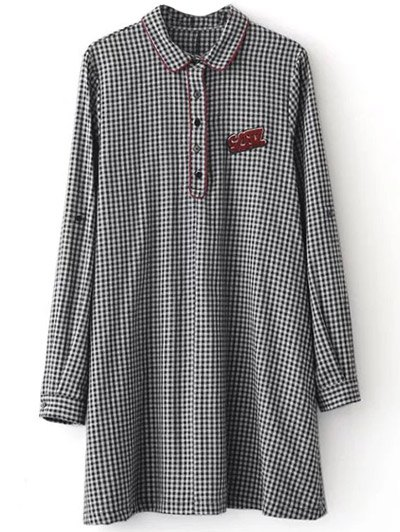 Checked Long Sleeve Mini Dress - WHITE AND BLACK M Mobile