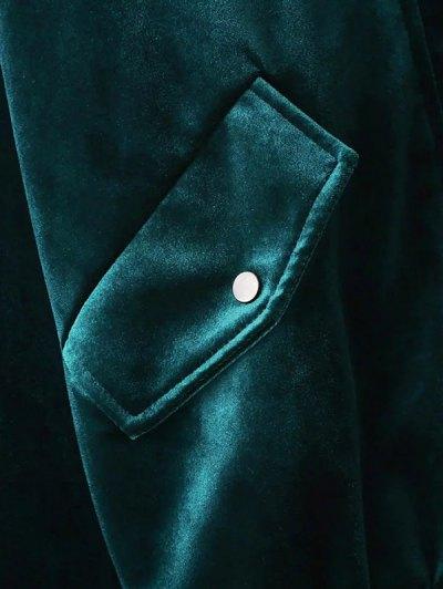 Embroidered Single Breasted Velvet Jacket - PEACOCK BLUE M Mobile