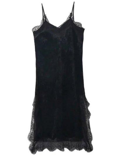 Lace Trim Velvet Cami Dress - BLACK M Mobile