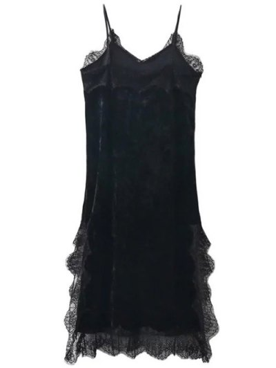 Lace Trim Velvet Cami Dress - BLACK S Mobile