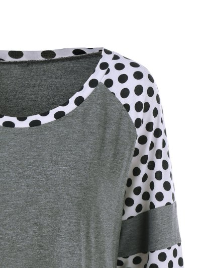 Polka Dot Patchwork Plus Size Tee - GREY AND WHITE XL Mobile