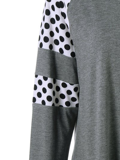 Polka Dot Patchwork Plus Size Tee - GREY AND WHITE 5XL Mobile