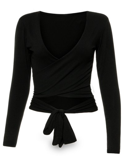 Long Sleeve Wrap Front Crop Top - BLACK S Mobile