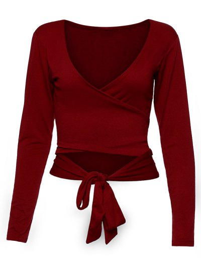 Long Sleeve Wrap Front Crop Top - BURGUNDY L Mobile