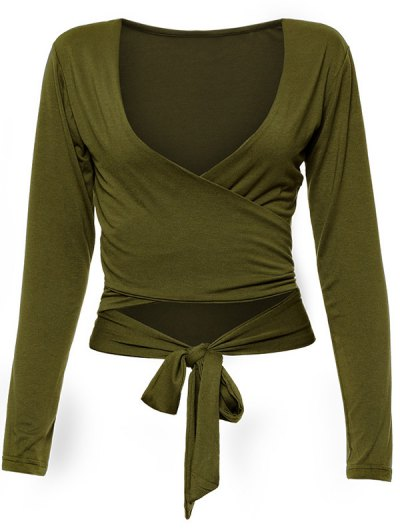 Long Sleeve Wrap Front Crop Top - ARMY GREEN M Mobile