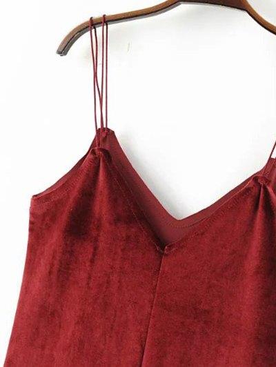Strapy Velvet Mini Dress - BROWN L Mobile