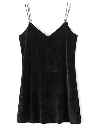 Strapy Velvet Mini Dress - BLACK L Mobile