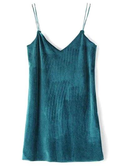 Strapy Velvet Mini Dress - PEACOCK BLUE S Mobile