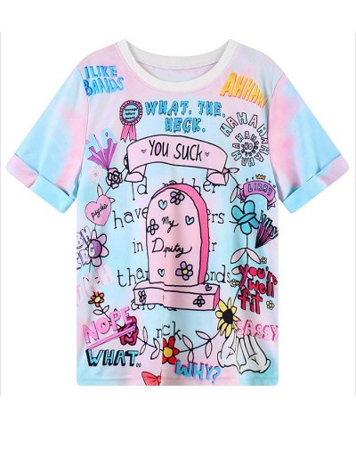 Cartoon Graphic Pattern T-Shirt - COLORMIX ONE SIZE Mobile
