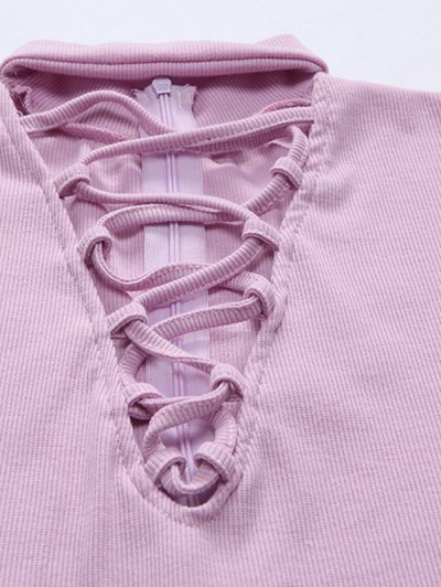 Long Sleeve Lace Up Choker Bodysuit - LIGHT PURPLE XL Mobile