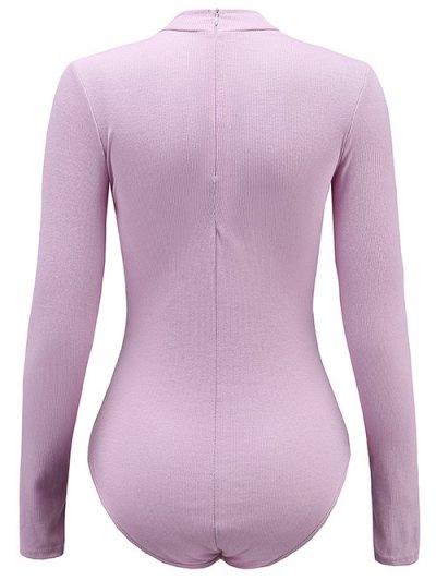 Long Sleeve Lace Up Choker Bodysuit - LIGHT PURPLE S Mobile