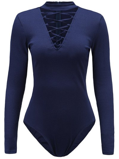 Long Sleeve Lace Up Choker Bodysuit - CADETBLUE XL Mobile