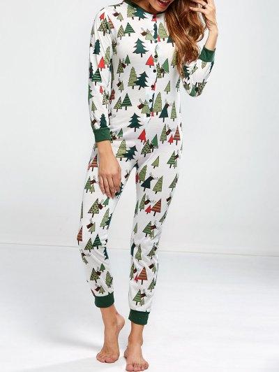 Christmas Tree Print Pajamas - GREEN XL Mobile