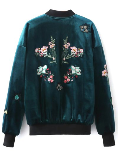 Embroidered Single Breasted Velvet Jacket - PEACOCK BLUE S Mobile